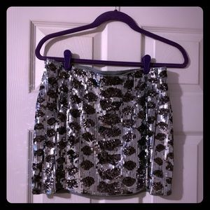 Express Black & Silver mini skirt